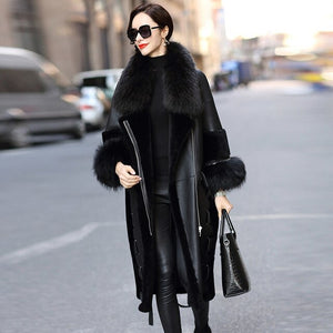 Faced Double Real Fur Coat Female Genuine Leather Jacket Winter Coat Women Raccoon Fur Collar Luxury Wool Coats MY4401 s