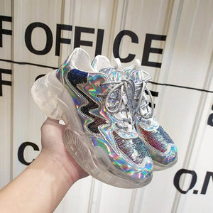Transparent Sneakers Women Harajuku Ladies Platform Jelly Shoes Laser Casual Shoes Woman Shining Running Footwear