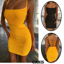 Load image into Gallery viewer, Summer Sexy Bandage Hollow Out Dress Women Fashion Sleeveless Backless Bodycon Party Club Dress Mini Wrap Dress