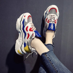 Women Platform Chunky Sneakers 5cm high lace-up Casual Vulcanize Shoes luxury Designer Old Dad female fashion Sneakers 2019