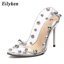 Load image into Gallery viewer, Eilyken 2020 Design Rivet Crystal Pumps Wedding Women Shoes High Heels PVC Transparent Sexy Night Club Femme Shoes