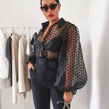 Load image into Gallery viewer, Womens Polka Dot Blouse Mesh Sheer Shirt Puff Long Sleeve Blouse See-through Transparent Fashion Plus Size Female Casual Top