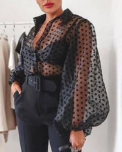 Womens Polka Dot Blouse Mesh Sheer Shirt Puff Long Sleeve Blouse See-through Transparent Fashion Plus Size Female Casual Top