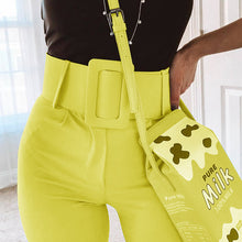 Load image into Gallery viewer, InstaHot Casual High Waist Pencil Pants Women Belt Ankle Length Office Lady Pants Blue Zipper Suit Trousers Straight Leg Sashes