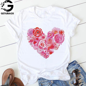 pink heart flower Print Women tshirt Cotton Casual Funny t shirt Gift 90s Lady Yong Girl Drop Ship S-894 Valentine's Day Gift