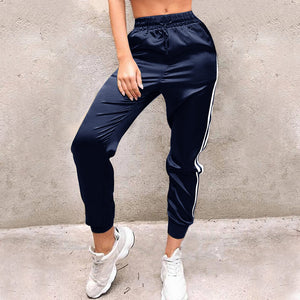 Casual Women Sport Pants Elastic Waist Loose Drawstring Pencil Pantalon Femme Striped Gym Trousers Stretch Stretch Joggers