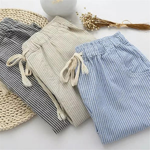 Bigsweety Cotton Linen Women Casual Pants 2018 Fashion Loose Long Pants Elastic Waist Straight Striped Trousers Pantalon