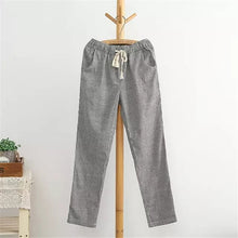 Load image into Gallery viewer, Bigsweety Cotton Linen Women Casual Pants 2018 Fashion Loose Long Pants Elastic Waist Straight Striped Trousers Pantalon