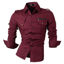 Load image into Gallery viewer, Jeansian Men's Casual Dress Shirts Fashion Desinger Stylish Long Sleeve Slim Fit 8371 WineRed