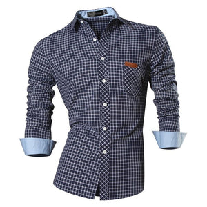 Jeansian Men's Casual Dress Shirts Fashion Desinger Stylish Long Sleeve Slim Fit 8371 WineRed