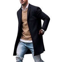 Load image into Gallery viewer, Autumn Winter Mens Brand Fleece blends Jackets Male Overcoat Casual Solid Slim collar coats Long cotton trench coats Streetwears
