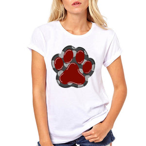 Women Never Walk Alone Dog Paw Cute Foot Floral Pet Fashion Clothe Printed Woman Harajuku Punk Top Tee Shirt T Female T-shirt