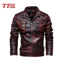 Load image into Gallery viewer, Tactical PU Leather Jacket Men Winter fleece Military Casual Leahter jacket Male Motorcycle Windbreaker chaqueta cuero hombre
