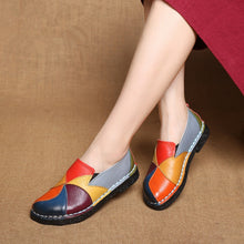 Load image into Gallery viewer, DONGNANFENG Women's Ladies Female Woman Shoes Flats Mother Shoes Cow Genuine Leather Loafers Ballerina Colorful Non Slip On Zapatillas Mujer Ballet Designer Mocassin Femme Slip-On Mixed Colors Plus size 35-42 OL-2098