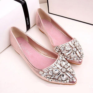 Fashion Bling Crystal Flats Shoes Women Boat Shoes Casual Low Heel Pointed Toe Ballerina Flats Ladies Rhinestone Wedding Shoes