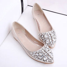 Load image into Gallery viewer, Fashion Bling Crystal Flats Shoes Women Boat Shoes Casual Low Heel Pointed Toe Ballerina Flats Ladies Rhinestone Wedding Shoes