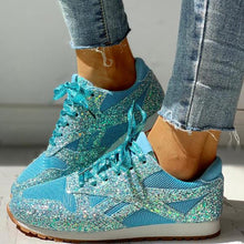 Load image into Gallery viewer, 35-44 Women Flat Glitter Sneakers Casual Female Mesh Lace Up Bling Platform Comfort Plus Size Vulcanized Shoes 2019 Autumn