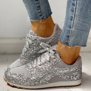 35-44 Women Flat Glitter Sneakers Casual Female Mesh Lace Up Bling Platform Comfort Plus Size Vulcanized Shoes 2019 Autumn