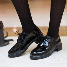 Load image into Gallery viewer, Women Flats New British Style Oxford Shoes Women Casual Lace Up Pu Flats Shoes Female Creepers Zapatos Mujer Ladies Shoes