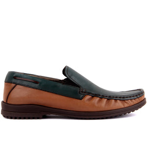 Sail Lakers-Tan, Green Leather Man Casual Shoes