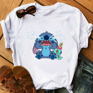 Women's Cartoon Graphic Fashion T-Shirt Lilo Stitch Kawaii Tshirts Cartoon Female Printed Casual T Shirt Casual Tops T-shirt