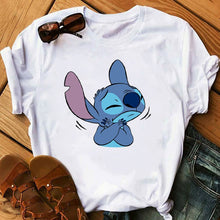 Load image into Gallery viewer, Women's Cartoon Graphic Fashion T-Shirt Lilo Stitch Kawaii Tshirts Cartoon Female Printed Casual T Shirt Casual Tops T-shirt