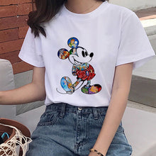 Load image into Gallery viewer, Mouse Cartoon Printing Harajuku T-shirt Women's Lion King Fashion Tshirt O-neck Short-sleeved shirt White Shirt Women's Clothing