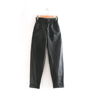 Tangada women pleated high waist black PU leather harm pants female 2019 autumn winter vintage faux leather trousers 2W105