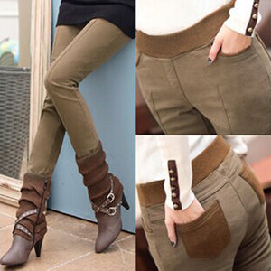 Women Winter Pants High Waist Skinny Pants Women Warm Khaki Thicken Velvet skinny Pencil Style Pant Legins Feminina Trousers 4XL