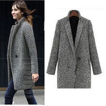 Load image into Gallery viewer, Vintage Autumn Winter Woolen Coat Single Button Pocket Oversize Long Trench Coat Outerwear Women Houndstooth Cotton Blend Coat