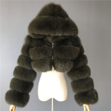 Load image into Gallery viewer, FURSARCAR Natural Real Women Fox Fur Coat With Hood Luxury Female Fur Jacket Thick Warm Fashion Female Winter Genuine Fur Coats