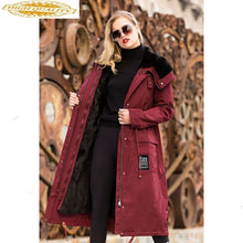 Load image into Gallery viewer, AYUNUSE Real Fur Parka 2020 Winter Jacket Women Luxury Natural Mink Fur Coat Female Korean Long Trench Coats Warm Outwear MY3621