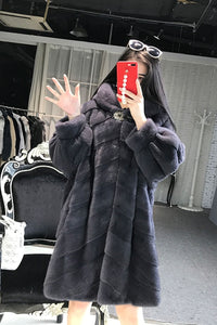 Real Fur Coat Women Winter Mink Fur Coat Thick Plus Size Jacket Top Quality Hooded Outwear Casaco Inverno 1506 MF335