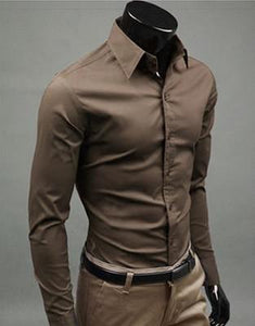 European and American fashion candy color long-sleeved shirt male 2019 spring and autumn new men's solid color casual shirt