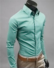 Load image into Gallery viewer, European and American fashion candy color long-sleeved shirt male 2019 spring and autumn new men's solid color casual shirt