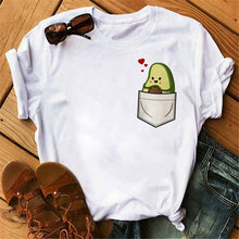 Load image into Gallery viewer, Avocado Vegan Women T Shirt Ulzzang 2020 Kawaii Cartoon Tshirt Harajuku 90s Graphic Female Short Sleeve T-shirt Summer Clothes
