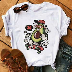 Avocado Vegan Women T Shirt Ulzzang 2020 Kawaii Cartoon Tshirt Harajuku 90s Graphic Female Short Sleeve T-shirt Summer Clothes