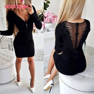 UGOCCAM Winter Dress Women Backless Autumn Dress Hollow Out Sexy Dress Elastic Force Ladies Dresses Slim Casual Dress Vestidos