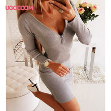 Load image into Gallery viewer, UGOCCAM Winter Dress Women Backless Autumn Dress Hollow Out Sexy Dress Elastic Force Ladies Dresses Slim Casual Dress Vestidos