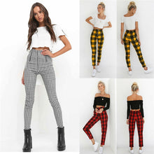Load image into Gallery viewer, Women Leggings New Skinny High Waist Sexy Jeans Trousers Denim Slim Stretchy Pencil Pants Zip-up Plaid Bodycon Pants Leggings