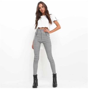 Women Leggings New Skinny High Waist Sexy Jeans Trousers Denim Slim Stretchy Pencil Pants Zip-up Plaid Bodycon Pants Leggings