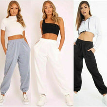 Load image into Gallery viewer, New ladies trousers casual sports pants plain track jogging pants haul two pockets beam hip hop loose cotton sweatpants