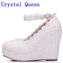 Load image into Gallery viewer, Crystal Queen White Wedges Wedding Pumps Sweet White Flower Lace Pearl Platform Pump Shoes Bride Dress High Heels