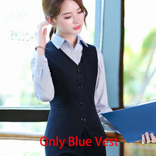 Load image into Gallery viewer, Black Blue Female Elegant Women's Skirt Suits Suit Dress Costumes Office Wear Blouse Skirt and Jacket Set 2 Set Piece Vest Shirt