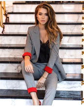 Load image into Gallery viewer, Women's Costumes Suits Classic Office Business Plaid Patchwork Double-breasted Pantsuit Female Autumn Blazer Trouser Suit Set