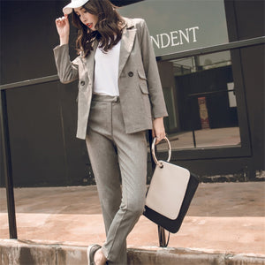 Women Suit Gray Casual Blazer & High Waist Pant Office Lady Notched Jacket Pant Suits Korean Femme 2 pieces set