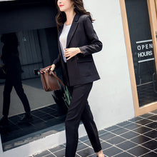 Load image into Gallery viewer, Women Suit Gray Casual Blazer & High Waist Pant Office Lady Notched Jacket Pant Suits Korean Femme 2 pieces set