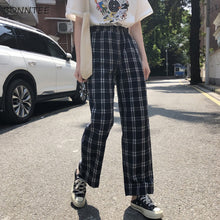 Load image into Gallery viewer, Pants Women Plaid Retro Pockets Elastic Waist Korean Style All-match Womens Spring  2019 Long Trousers Straight Leisure Loose