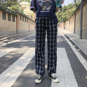 Pants Women Plaid Retro Pockets Elastic Waist Korean Style All-match Womens Spring  2019 Long Trousers Straight Leisure Loose