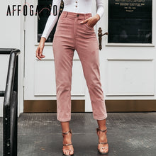 Load image into Gallery viewer, Affogatoo Casual fashion women ninth pants Vintage High waist corduroy pencil pants Autumn winter streetwear female pink pants